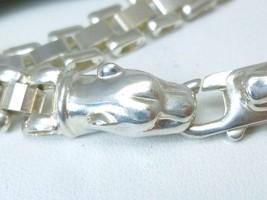 Sterling Silver Panther Head Link Bracelet 7 inch, 13.9 gr - $62.00