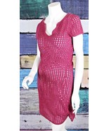 INC International Concepts Medium M Maroon Crochet Knit Sweater Dress Ma... - $29.69