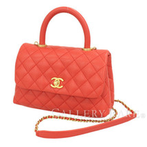 cb75bdc178d1 CHANEL Small Top Handle Flap Bag Caviar Leather Red A92990 Authentic  5366668 - £3,416.98 GBP