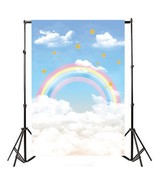 2.1m x 1.5m Rainbow Clouds Stars Theme Photography Vinyl Backdrop Studio... - $20.27