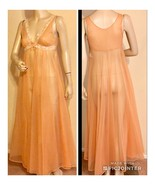 Vintage Double Chiffon Nylon & Lace Nighgown Sheer Sz S - $59.39