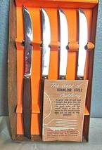 Vintage Boxed Set of 4 Steak Knives Butler Sheffield England Wooden Handles - $23.00