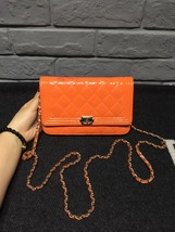 100% AUTH CHANEL Boy WOC Quilted Patent Leather Orange Wallet on Chain Flap Bag  image 2