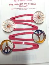 Gymboree Crazy 8 Peace Sign Clock Cutie Barrette Clip Snap Used EUC Girl Pink - $7.95