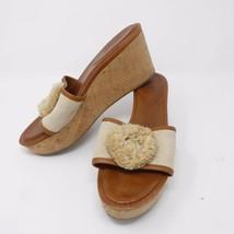 """Size 10 B COACH Platform Wedge Sandals Cork 3.5"""" High Heels Slip On - $59.36"""