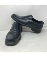 Ecco Mens Black Leather Slip On Loafers Sz 45 EU 11 / 11.5 US PU Cushion... - $59.39