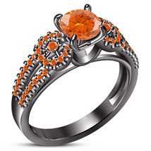 Round Cut Orange Sapphire 14k Black Gold Plated 925 Pure Silver Engageme... - $94.54