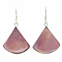 Pink Clam Shell Fan Drop Earrings - $17.23
