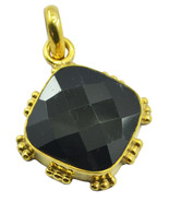 charming Black Onyx Gold Plated Black Pendant Natural jaipur US gift - $9.89