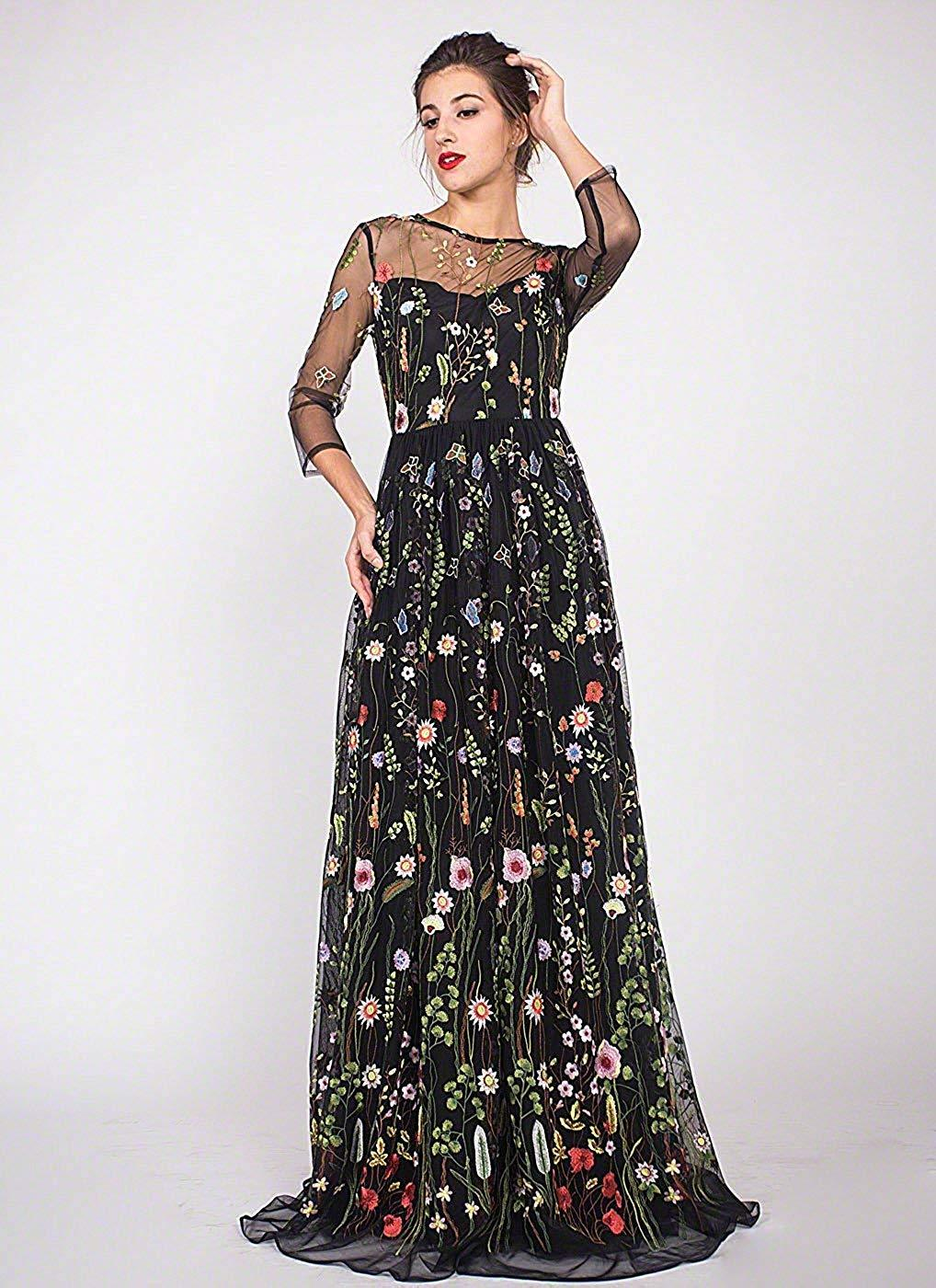 Womens Long 3D Flower Prom Party Dress Long Sleeves Formal Evening Gown 2019