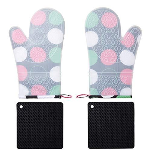 BALOPIVE Silicone Heat Resistant Oven Mitts,with Quilted Cotton Lining and Non-S