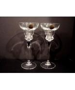Taper Candlesticks Venise Saphir by Cristal D'Arques-Durand Dark Blue Ce... - $30.00
