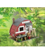 Cute Red Vintage Camping Trailer w/ Outdoor Table & Stools Decorative Bi... - $29.95