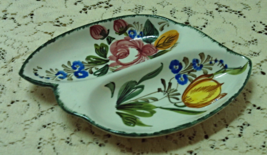 Vintage Hand Painted  Italian Pottery Divided Relish Tray // Candy Bowl - $11.50