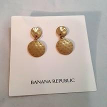 BANANA REPUBLIC HAMMERED GOLD TONE DROP EARRINGS PIERCED - $10.00
