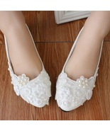 White Women Bridal Shoe Ballet Flats/Wedding Flat Shoes,Ivory Lace Brida... - $38.00