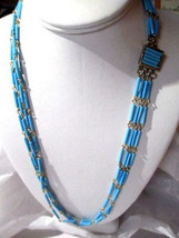 MULTISTRAND BLUE W WIRED ENDS TURQUOISE COLOR NECKLACE FANCY CLASP VINTAGE - $24.00