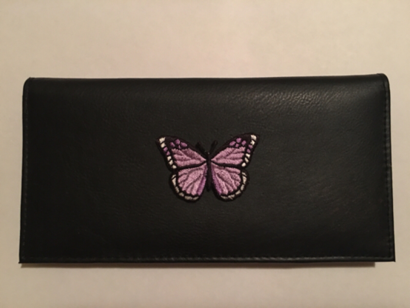 Primary image for Butterfly  Black Leather Checkbook Cover Free Shipping Butter Fly