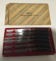 Burns Syracuse (Set of 6) Steak Knives Stag Deer Antler Horn Handle VTG ... - $46.74