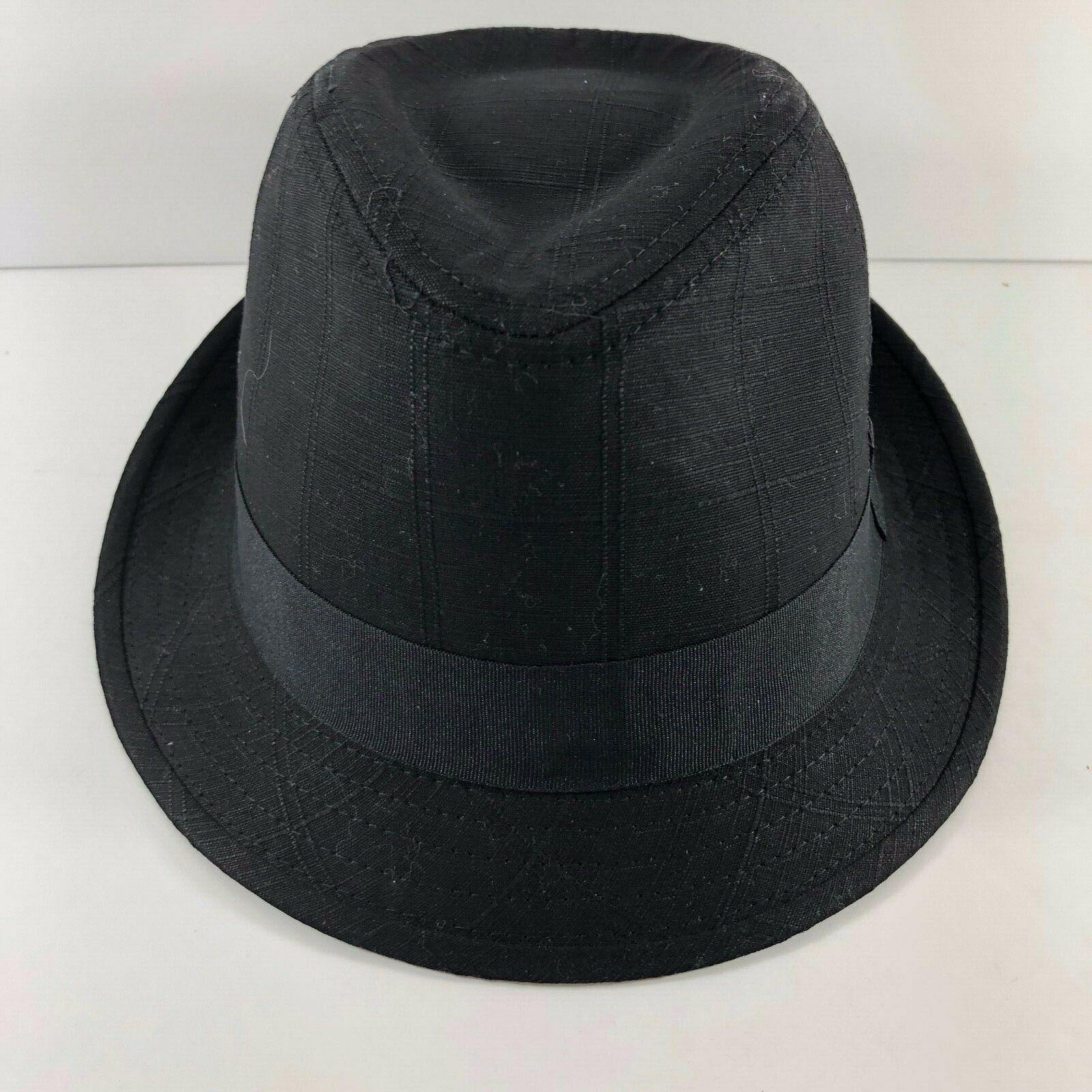 Vintage DPC Authentic cotton linen Black Fedora Hat sz L Handmade Headwear