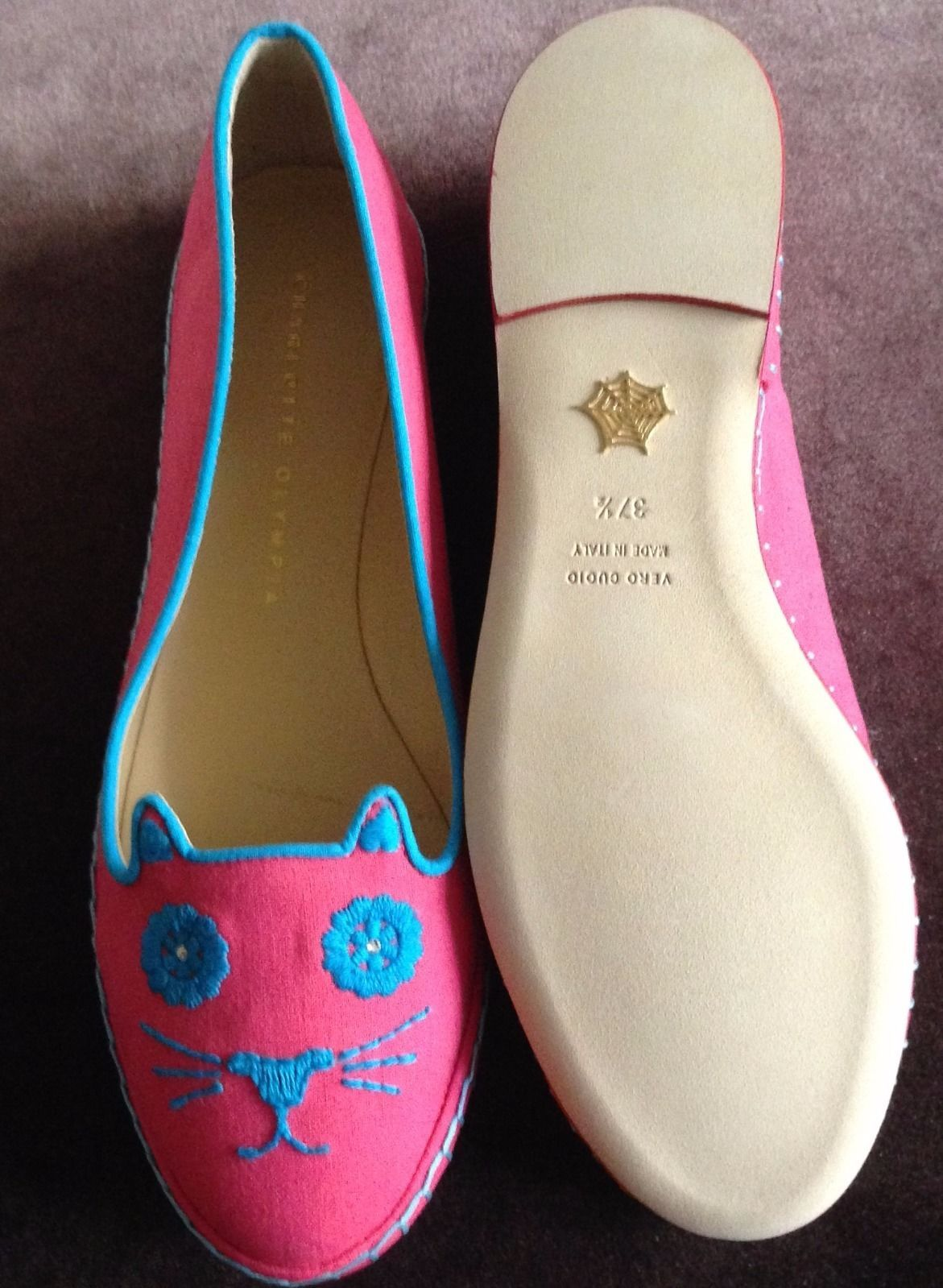 Charlotte Olympia Mexicat Pink with Turquoise Embroidery Kitty Flat 37.5