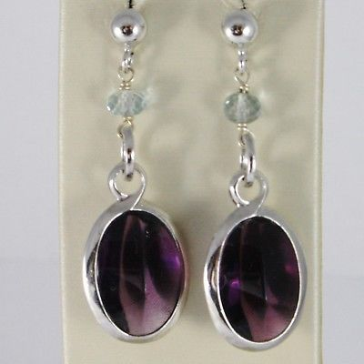 925 STERLING SILVER PENDANT EARRINGS WITH FACETED AQUAMARINE & PURPLE CRYSTAL