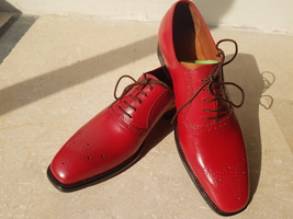 Handmade Red Heart Medallion Lace up Dress/Formal Oxford Shoes For Men image 3