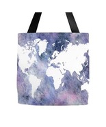 Tote bag All over print Design 65 World Map blue white digital art by L.... - $29.99+