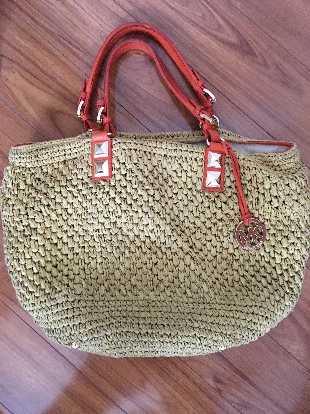 514a2ec8cede62 Michael Kors MK Santorini Straw Husk Bag Large Tote Leather Handbag Orange