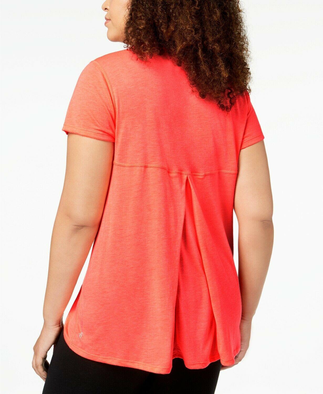 New Calvin Klein Plus Size Draped-Back Top Blood Orange Active Shirt 2X image 2