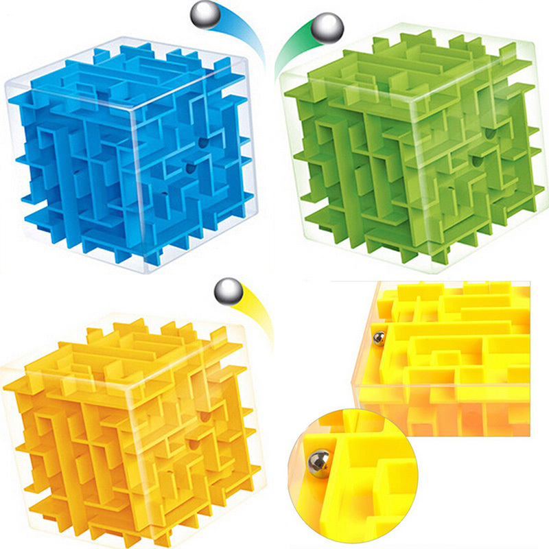 8cm 3d magic cube maze labyrinth rolling ball educational toys puzzle plastic stress relief toy