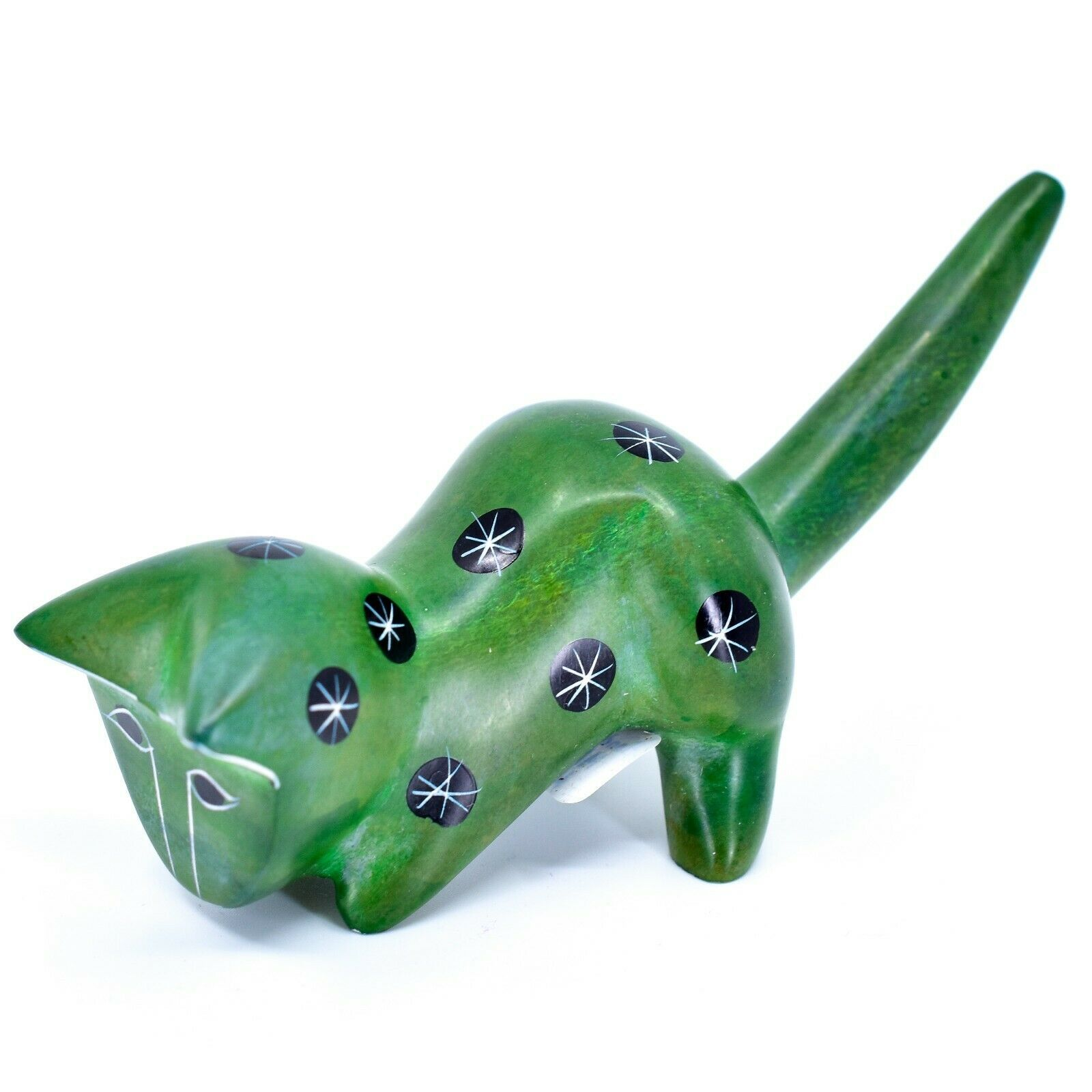 Tabaka Chigware Hand Carved Kisii Soapstone Green Shelf Cat Figurine Kenya