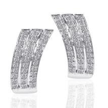 1.00 Carat Round Cut Carat Diamond Triple J-Hoop Earrings 14K White Gold - $711.91