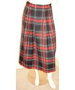 LANDS' END Multi-Color Black Plaid Lined Mid-Calf Pleated 100% Wool Skir... - $24.40