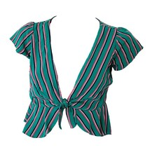 Favlux Fashion Womens Green Pink Striped Short Sleeve Tie-Front Top Sz S... - $11.88