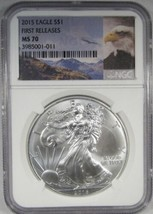2015 Silver Eagle NGC MS70 1st Releases Eagle Label AJ740 - $66.66