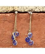 """Vintage Dangling Blue Rhinestone Gold Tone Chain Drop Pierced Earrings 2"""" - $14.00"""