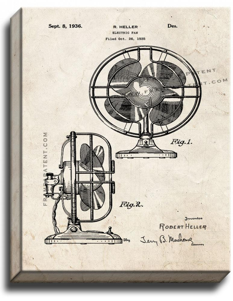Primary image for Electric Fan Patent Print Old Look on Canvas