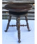Antique Swivel Piano Stool Glass Ball Claw Foot Organ Wood Seat Adjust H... - $149.95