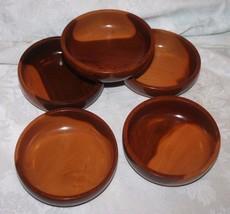 Wood Salad Bowls Teak Walnut? Beautiful Set 5 - $15.63