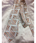 Abstract Necktie Mens Vintage Tie Striped Print - $13.00