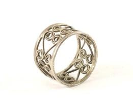 Vintage Silver Wide Scroll Band Design Ring 925 Sterling RG 3919 - $25.99