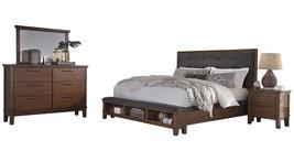 Ashley Ralene 4PC Bedroom Set Cal King Upholstered Storage - Brown - $2,420.19