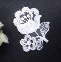 "5-20 pcs White Tulip Flower Lace Patch Motif Appliques Sew On 2"" height A40 - $4.99+"