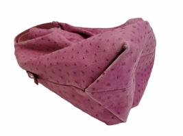 Furla Fuschia Pink Ostrich Embossed Leather Elisabeth Tote Shoulder Bag Purse image 4
