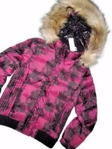 AMERICAN Eagle aeo Down Winter fur hooded cranberry JACKET Small S - $54.66