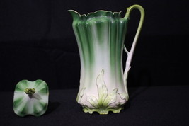 Vintage Royal Vienna Hand Painted GREEN LEAF Coffee Chocolate Pot w/Lid,... - $159.99
