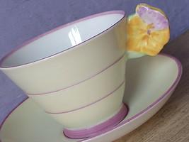 Antique 1930's Paragon Yellow flower handle tea cup set, Art deco English teacup - $226.71