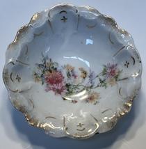 Vintage Porcelain Candy Dish Floral Pattern Gold Trim - $13.86