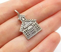 925 Sterling Silver - Vintage Petite School House Motif Drop Pendant - P... - $21.61